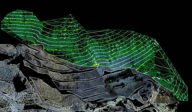 点群データ 採石場 自動コンタ作成