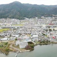 坂本城跡を空撮